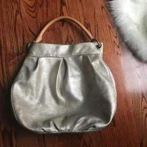 J. Crew Gold Leather Metallic Hobo Handbag